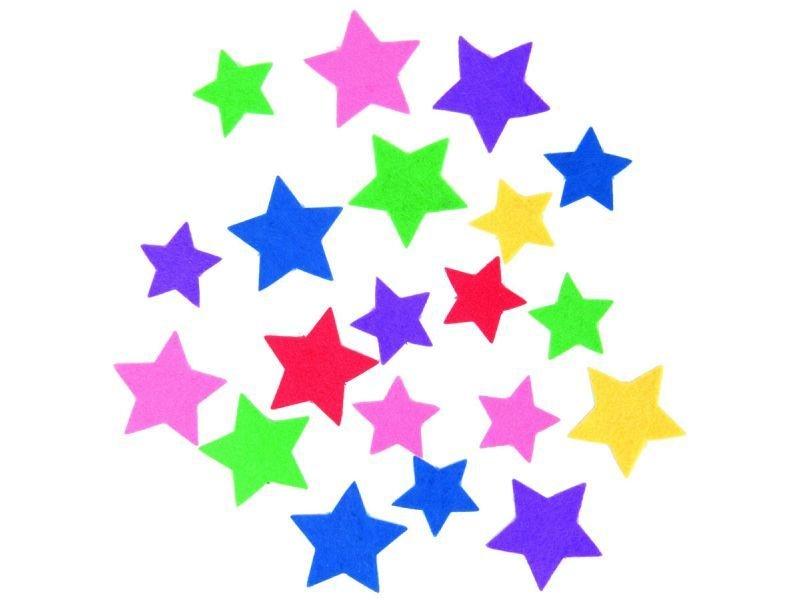 Filz Sterne selbstklebend, farbig