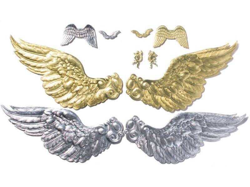 Stanzteil Karton, geprägt, Engel/Flügel