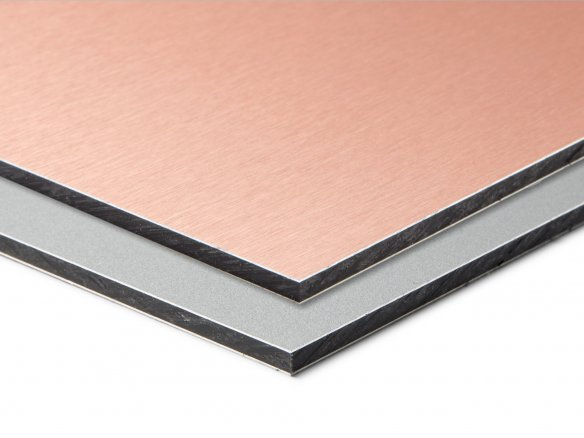 Etalbond Alu LDPE composite board, brushed copper