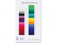 PVC lacquer film, single-layer, colour chart