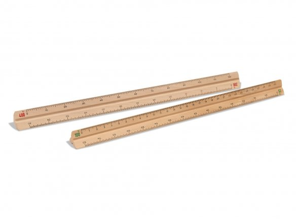 Triangular scale ruler, solid wood