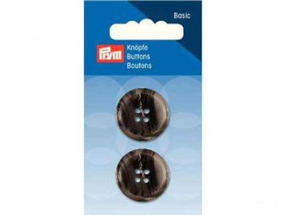 Prym round plastic button, mottled grey
