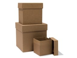 Cube-shaped cardboard box, raw, brown
