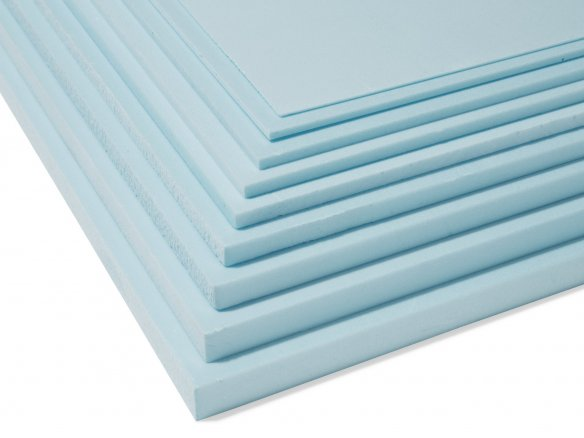 Styrofoam, light blue, trimmed