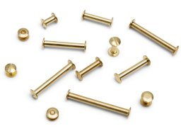 Bookbinding screws, standard, brass-plated