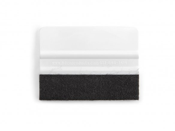 Plastic squeegee-type applicator with felt edge