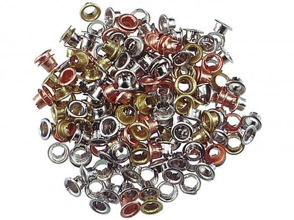 Eyelets, steel, various colours
