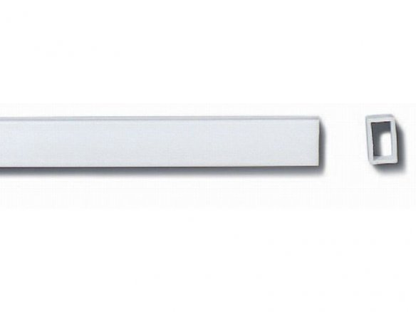 Tubo rectangular de poliestireno, blanco