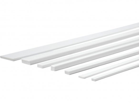 Polystyrene rectangular strips, long, white