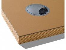 Linoleum Tischplatte mit Umleimer, Kabeldurchlass