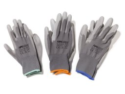 Work gloves, nylon, PU coated