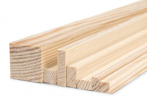 Right-angled pine moulding strip