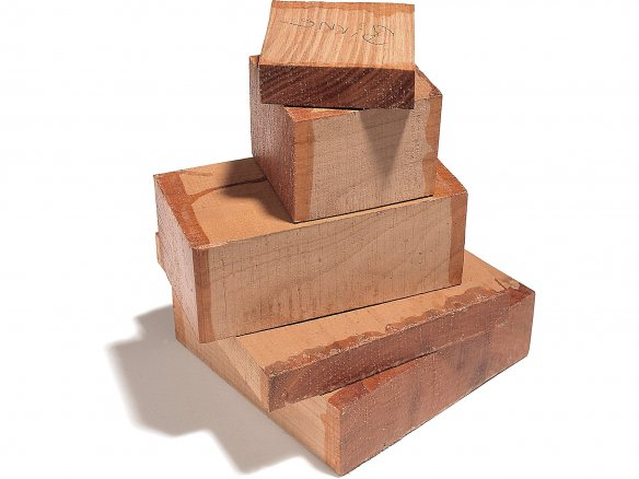 Solid pear tree wood pieces, rough-cut
