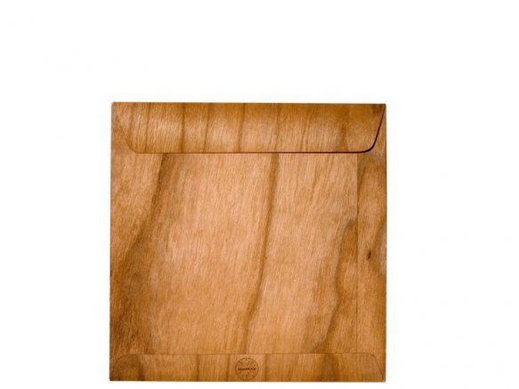Microwood paper--backed veneer CD pouch