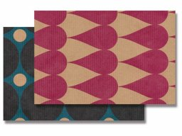 Natron packing paper, colour printed with various patterns
