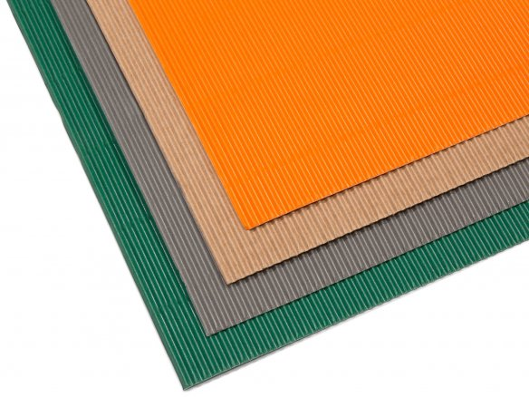 Micro-corrugated board, one-sided, sheet, coloured