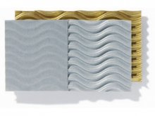3D-corrugated paper, one-sided, sheet, metallic