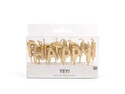 "Yey ""Happy Birthday decor candles, gold"
