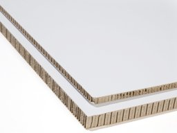 Honeycomb board, cardboard clad, white