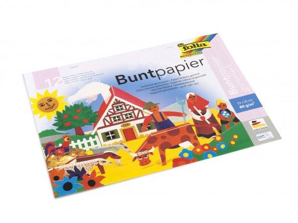 Folia Buntpapier Glanzpapier Bastelheft gummiert 12 Blatt farbig sortiert