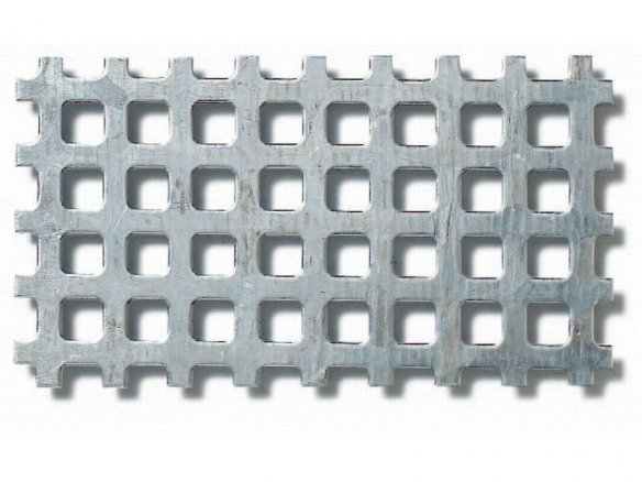 Galvanized  steel, square holes, square pitch