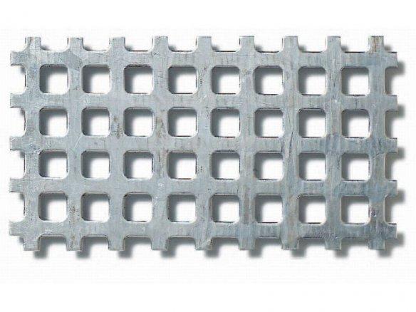 Lamiera acc.galvanizzato, fori quadrati allineati