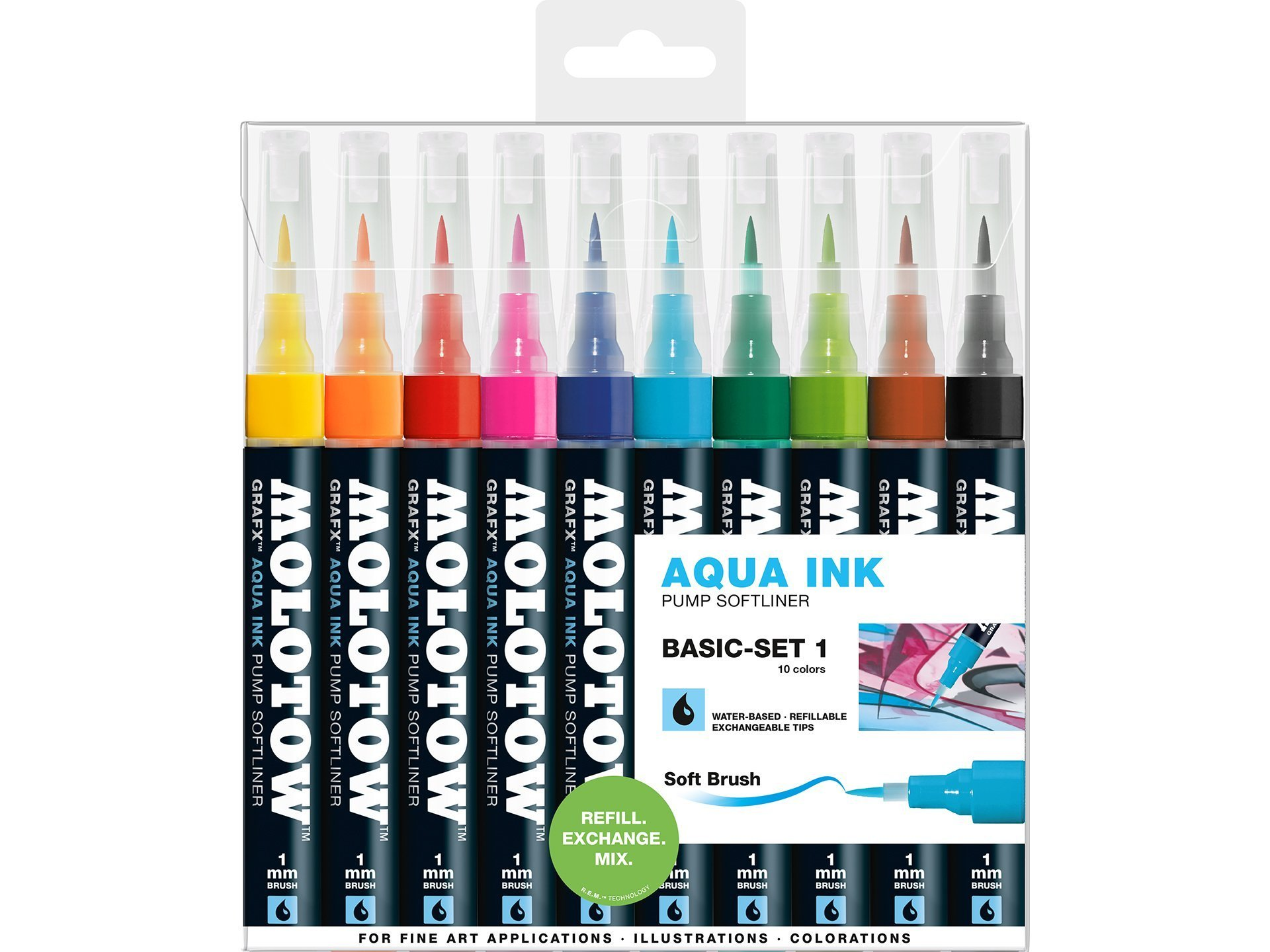 MOLOTOW GRAFX AQUA TWIN WATER BASED MARKER SET 12 PIECE TWIN TIP COLOURS