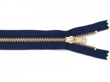 Cerniera lampo metallo oro, 5 mm., fissa