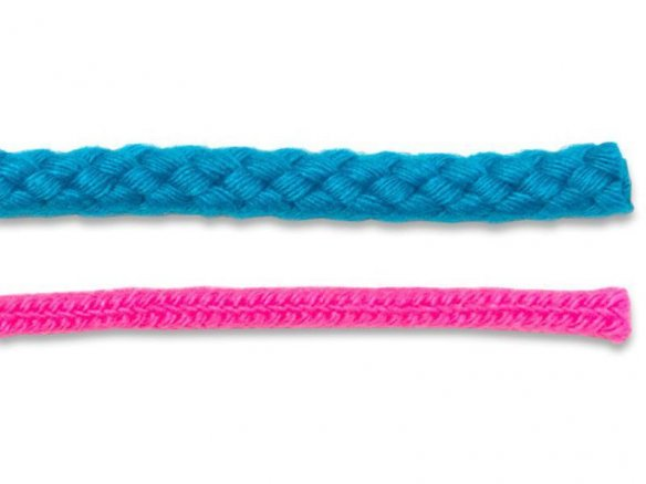 Braided cord, coloured