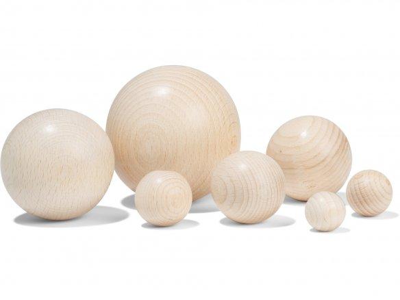 Esfera de madera de haya, no perforada, en bruto