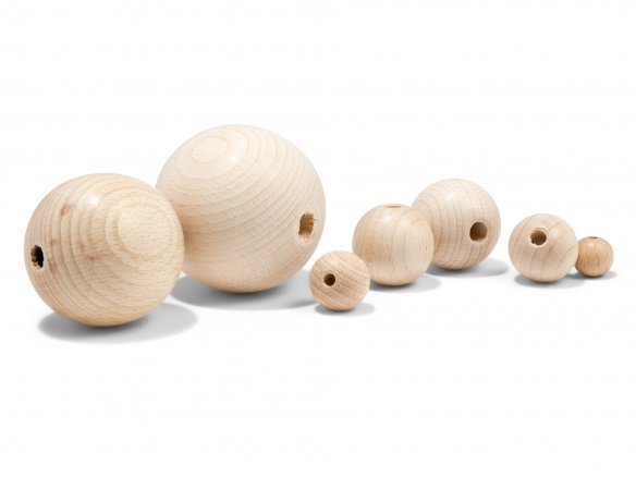 Wooden ball candle holder, beech, untreated