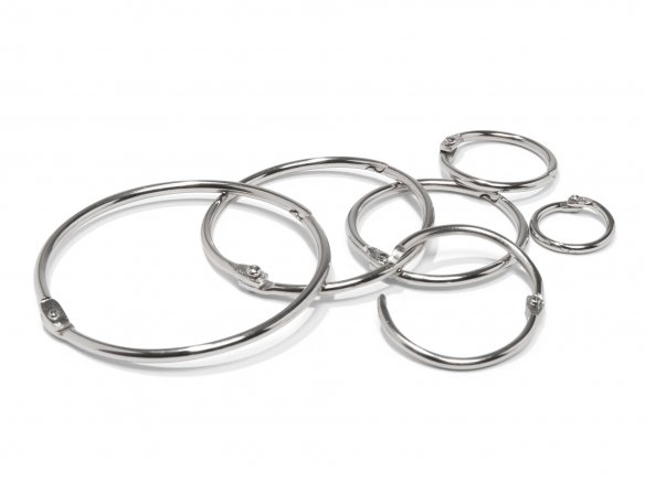 Loose leaf rings, nickel-plated, silver