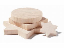 Solid wood shapes, stars, etc.