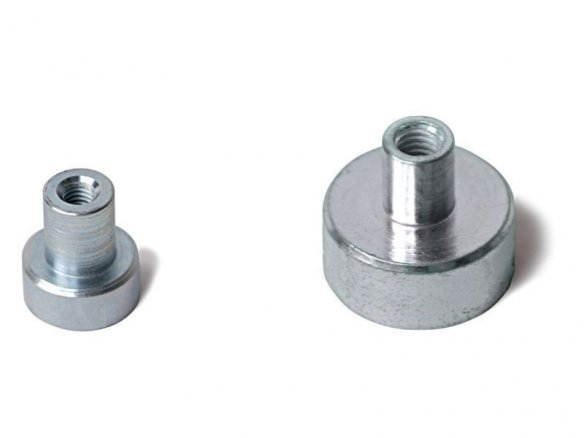 Round (grip) magnets with threaded bushing, silver