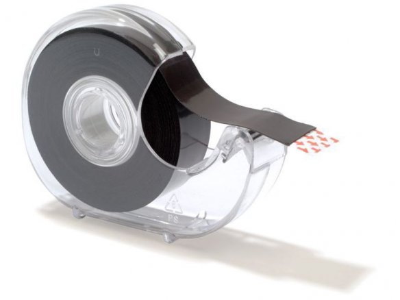 Magnetic strip, self-adhesive, with hand dispenser