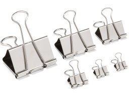 Foldback clips, nickel-plated, silver
