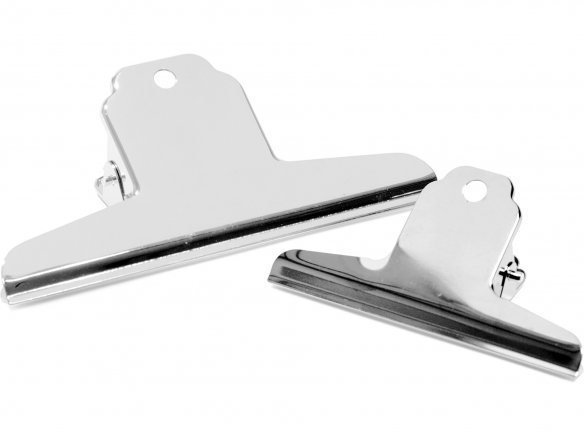 Binder clip, nickel-plated, straight grip