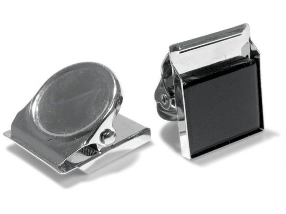 Magnetic clip, round, nickel-plated