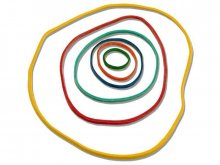 Rubber rings, sorted colours and sizes