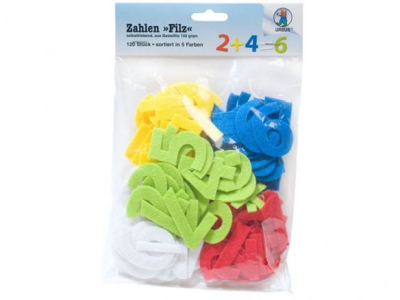 Felt numbers, self-adhesive
