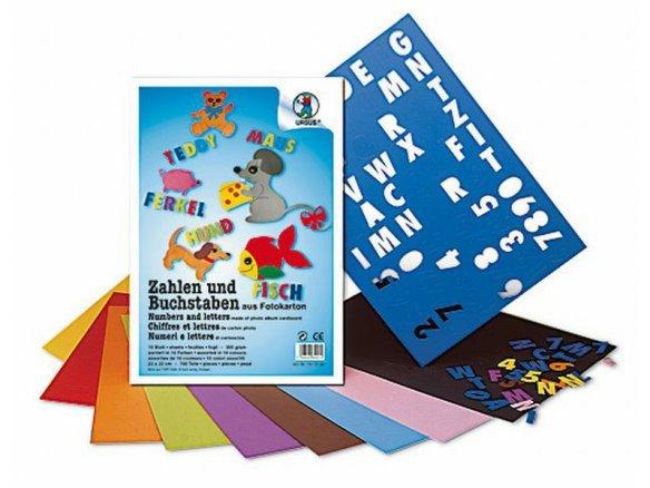 Fotokarton Zahlen/Buchstaben, farbig