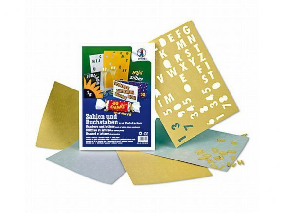 Photo mounting board numbers/letters, metallic