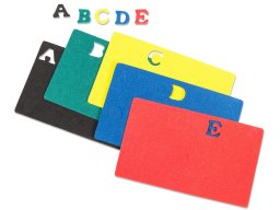 Foam rubber letters, coloured