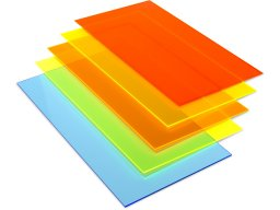 Acrylic glass GS, transparent, fluorescent colours