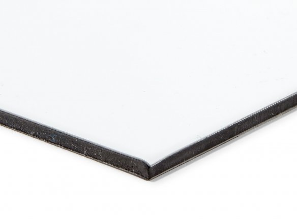 Steel LDPE composite board, white