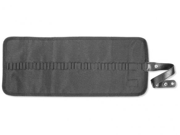 Roll-up pencil case with snap fastener, black