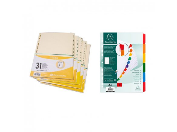 Index exhibit dividers, cardboard