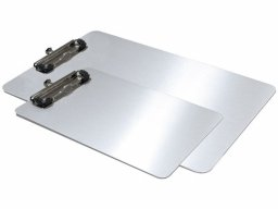 Portabloc con pinza, de aluminio, plateado