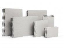 Sketchbook, grey board with spiral binding