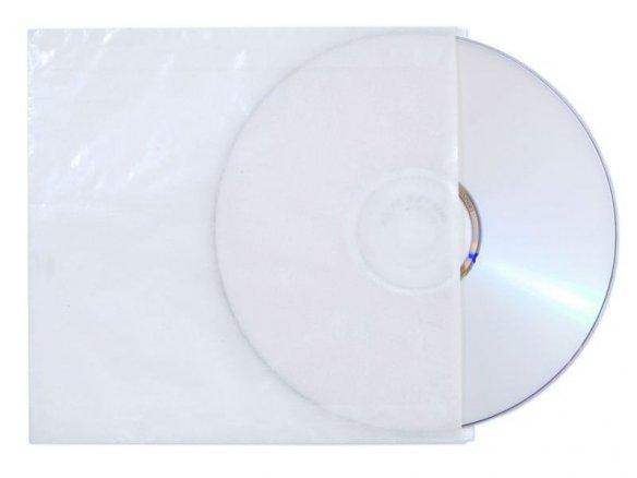 Bolsa para CD, de papel cristal, transl., incolora
